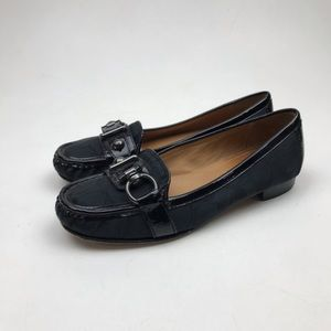 COACH ELKIE Black Leather Loafers Size 8